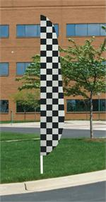 CHECKERED RACING FEATHER FLAG 12 FT NYLON, MADE IN THE USA, LONGEST LASTING