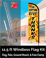 GIVE THANKS FEATHER FLAG 11 FT OR COMPLETE FLAG  KIT