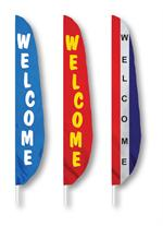 WELCOME FEATHER FLAG 12 FT ALL SEWN LONGEST LASTING