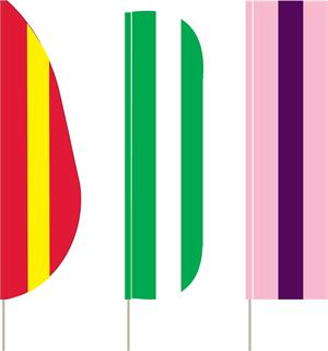 STRIPED FLUTTER AND FEATHER  FLAGS 3 STRIPE