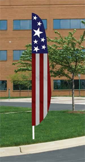 FEATHER FLAG 12 ft PATRIOTIC, NYLON , ALL SEWN, LONGEST LASTING,  MADE IN THE USA