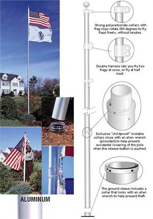 TELESCOPING FLAGOLE, 20 FT - NO MORE TANGLING FLAGS