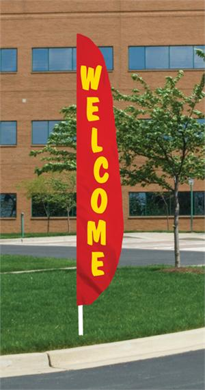 RED WELCOME FEATHER FLAG 12 FT