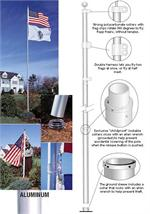 TELESCOPING FLAGPOLE , 16 FT TALL  ( FLAGS FLY TANGLE FREE )